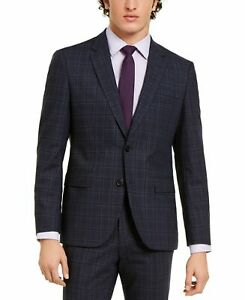Hugo Boss Mens Suit Separate Blue Size 44 Classic-Fit Stretch Wool $545 #267