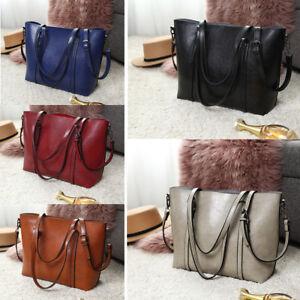 Women-Designer-Oil-Wax-Leather-Handbag-Shoulder-Tote-Top-Handle-Bag