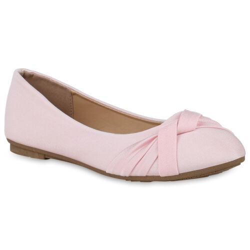 Klassische Damen Ballerinas Spitzenstoff Schleifen Slippers 820550 Trendy Neu