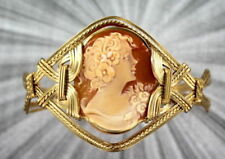 Vintage Antique Shell Carved Cameo Bracelet  in 14kt Rolled Gold  Wire Wrapped
