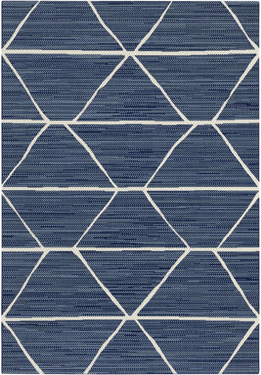 Tapis extérieur intérieur - Prisma bleu losange beige et - Terrasse Cuisine et beige Bain c02c52