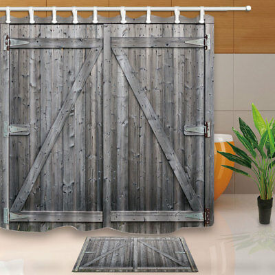 Rustic Brown Gray Wooden Barn Door Shower Curtain Bathroom Fabric