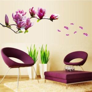 DIY-Magnolia-Flower-Wall-Decal-Vinyl-Sticker-Mural-Art-Living-Room-Home-Decor-KU