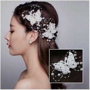 Aktiv Braut Haarschmuck Haargesteck Haarspange Perlen Rispen Schmetterling Strass Weiß äRger LöSchen Und Durst LöSchen Braut-accessoires