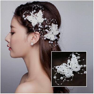 Braut Haarschmuck Haargesteck Haarspange Perlen Rispen Schmetterling Strass Weiß
