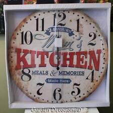 """GIANT 22"""" MOM'S DINER KITCHEN CLOCK HUGE XL LARGE Vintage Look  WOOD ~ Nice!"""