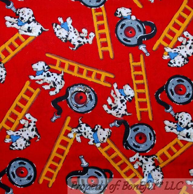 BonEful Fabric FQ Cotton VTG Red B&W Dalmatian Dog Puppy Ladder Hose FIRE Rescue