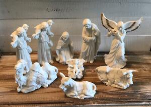 Set-9-Pcs-Homco-Christmas-Nativity-Scene-White-Bisque-Porcelain-Angel-Mary-Jesus