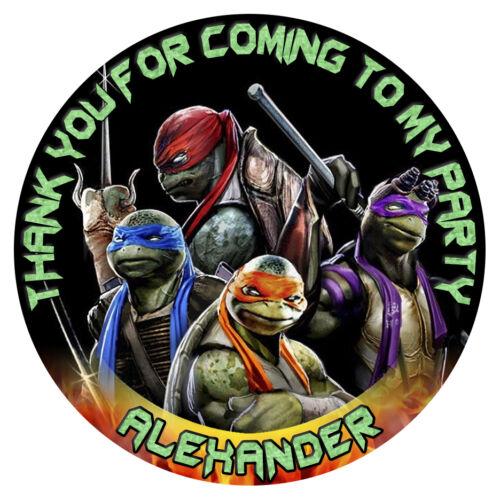 Personalised Teenage Mutant Ninja Turtles Birthday Party Stickers TMNT Bag Label