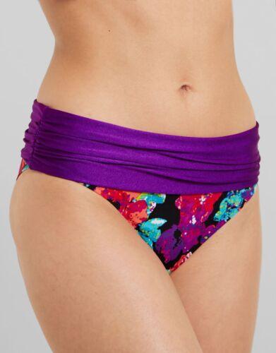 Cosmopolitan FOLD WAIST BIKINI BRIEF Purple Floral UK 8 NEW POUR MOI