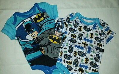 2 NWT New Newborn Batman Onesies Blue/White Short-Sleeve