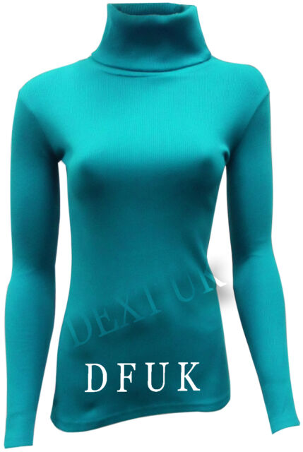 LADIES CELEB RIBBED  POLO ROLL NECK LONG SLEEVE CASUAL TOP JUMPER SIZE S/M , M/L