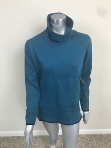 Tek-Gear-Woman-Sweat-Sport-Pullover-Long-Sleeve-Mock-Neck-Green-Pockets-Sz-XS