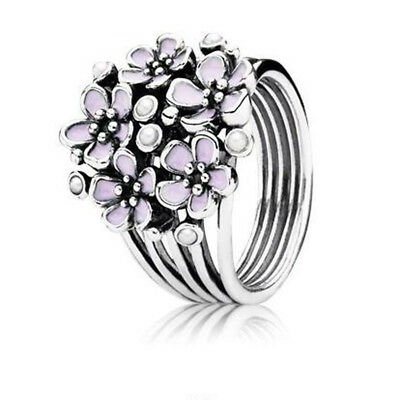 925 Silver Like-flowers Shaped Round Cut White Cat's Eye Rings Marriage Jewelry