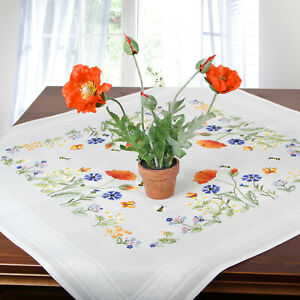 Stickpackung-Spannstich-Mitteldecke-Blumenwiese-komplett-mit-Garn-vorgedruckt
