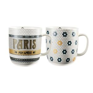 Marie Claire Paris Art Deco Tile New Bone China 2pc Mug Set 410ml Multicolour