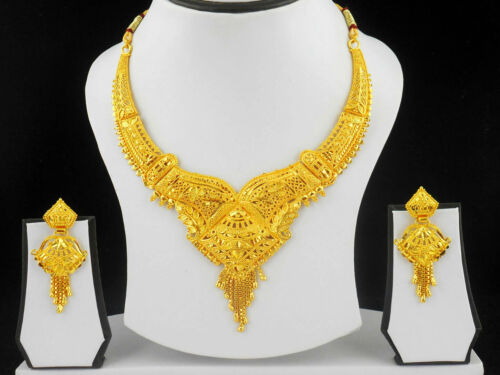 Indian Bollywood Fashion Ethnic Bridal Gold Plated Jewelry Necklace Earring Set