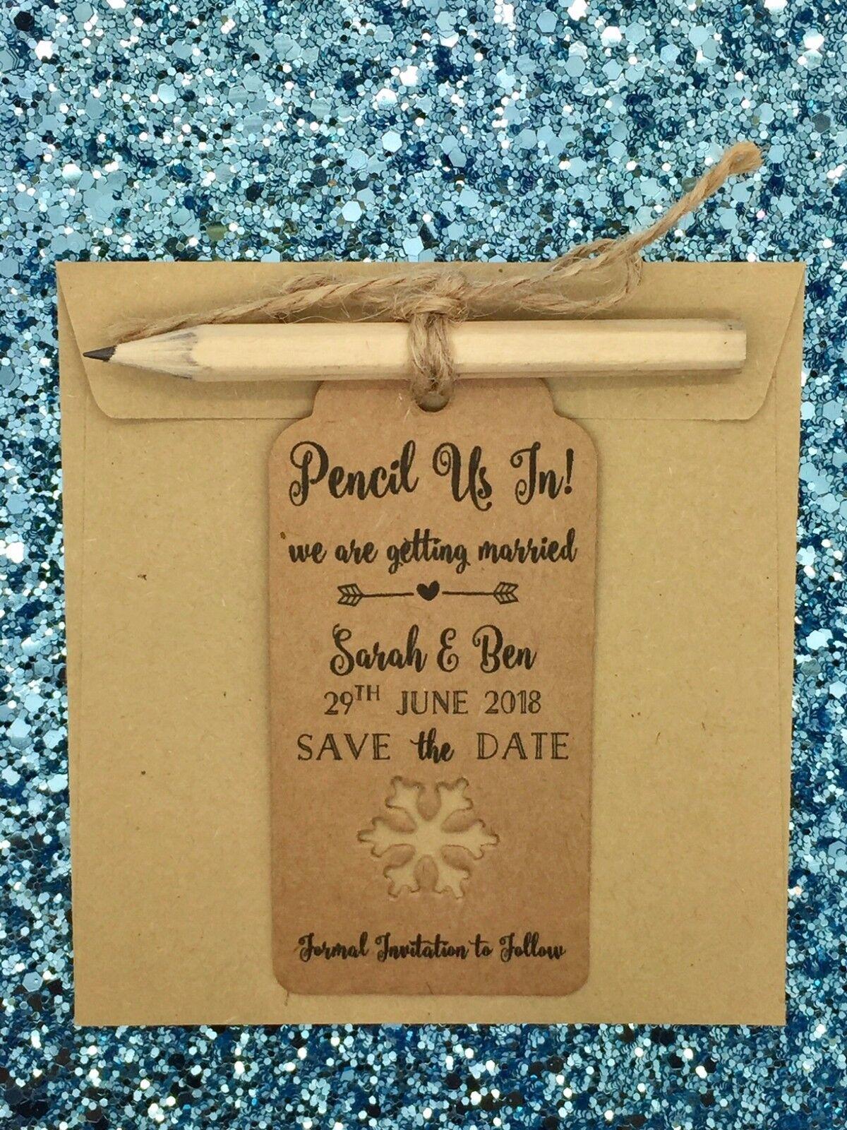Flocon Carte de neige crayon à nous sauver la date Carte Flocon Invitation pour l'hiver mariage 09541c