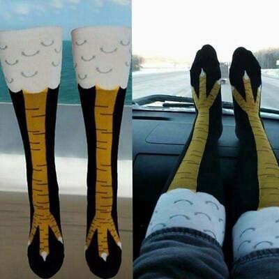 Women Crazy Funny Chicken Leg Cluck Novelty Knee Thight High Sock Fitness Gift