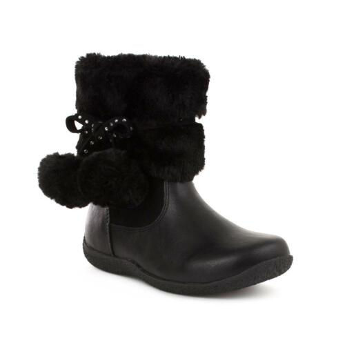 Girls Ankle Boot Pom Poms in Black by Walkright