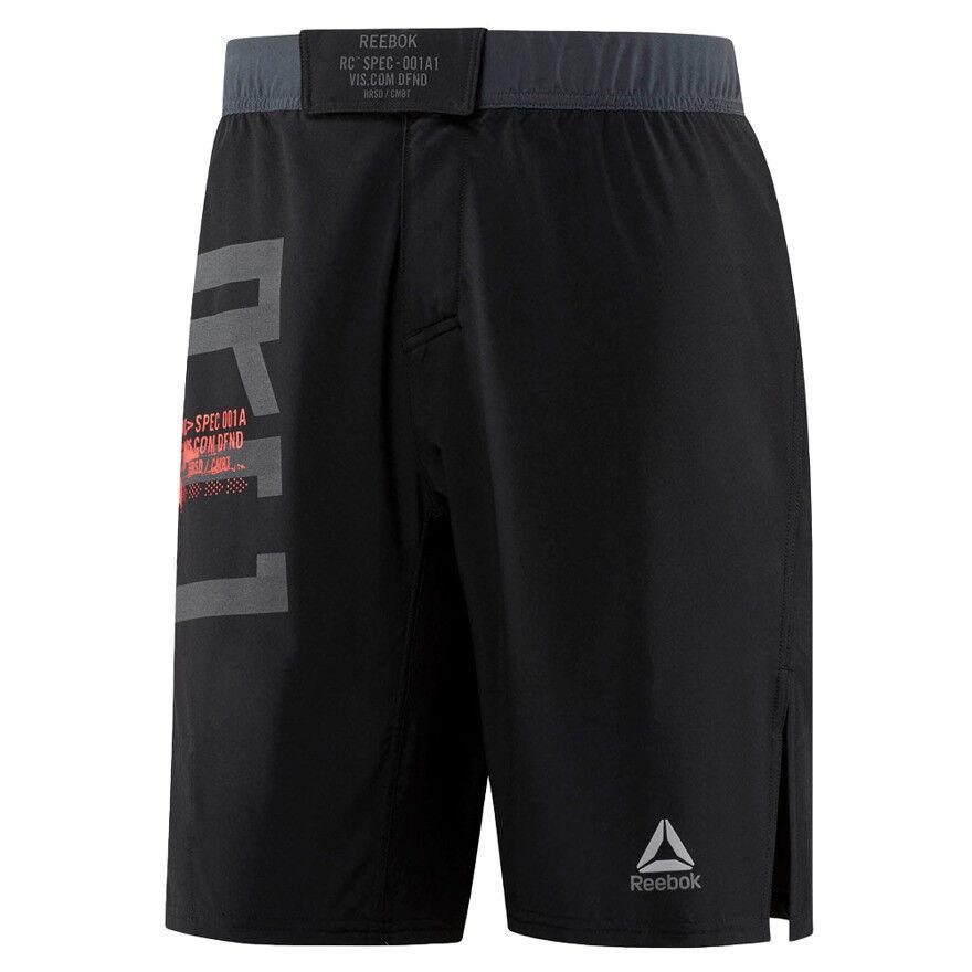 uomo Reebok pantaloncini pantaloncini pantaloncini da combattimento MMA Arti Marziali Palestra Allenamento Traspirante Nero d993e1