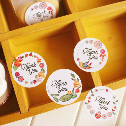 60//120Pcs Round Flower Thank you Label Sealing Adhesive Stickers Packing Tags