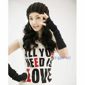 NEW-Black-Lady-braided-knit-Arm-Leg-warmer-fingerless-Long-gloves-Leisure-BA