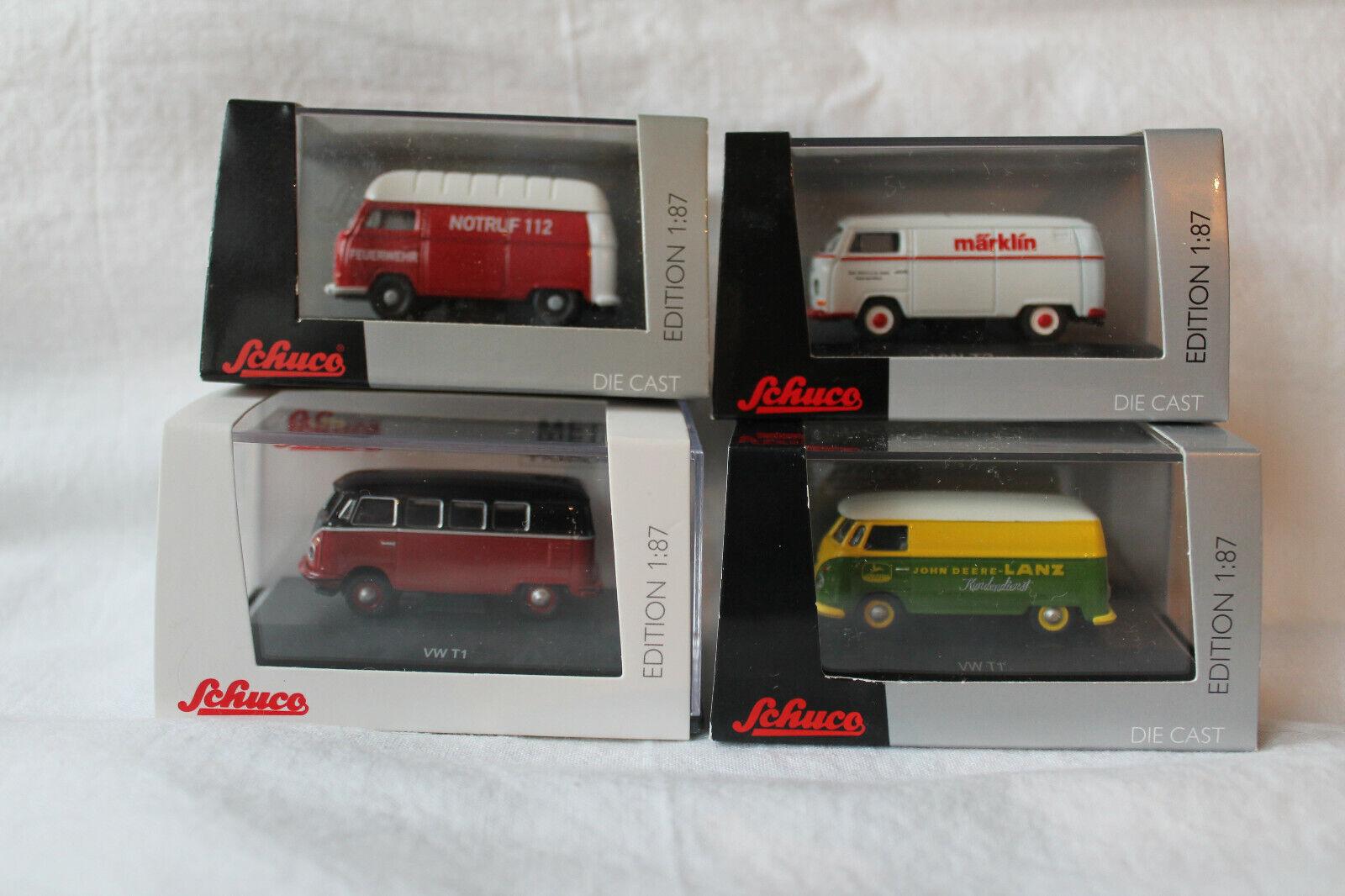 Schuco Konvolut 4x VW Bus Transporter T1 & T2 T2 T2 in 1 87 2f6a1d