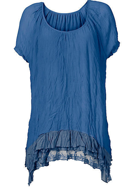 bfc5112d942e5 Sheego   Kaleidoscope Plus Size 24 Ocean bluee Lace Detail Tunic TOP Summer
