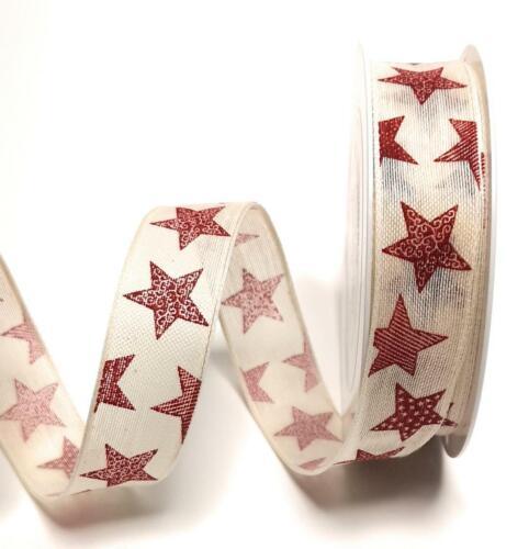 1m//0,20€ Rot Sterne Dekoband #9222 Schleifenband 20m x 25mm Creme Beige