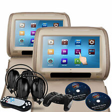 "Beige Universal DVD 9"" Touch-Screen Headrests SD/USB/FM/Games Land-Rover/Lexus"