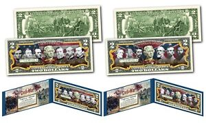 American-Civil-War-CONFEDERATE-amp-UNION-GENERALS-Genuine-2-U-S-Bills-SET-OF-2