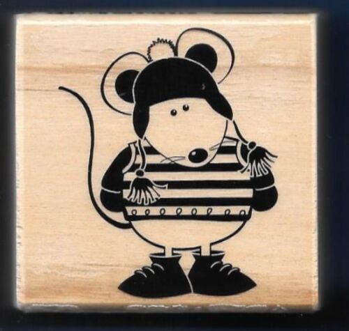 MOUSE WINTER SWEATER HAT Card NEW Medium Craft Smart Wood Mount RUBBER STAMP