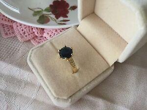 Vintage-Art-Deco-Jewellery-Gold-Ring-Dark-Blue-White-Sapphires-Antique-Jewelry