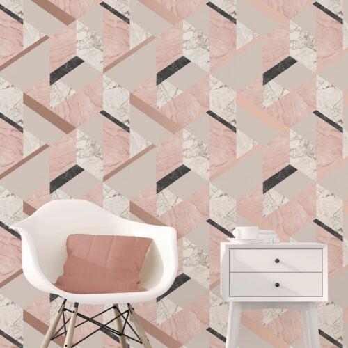 FD42303 New Fine Decor Marblesque Geometric Marble Pink Wallpaper