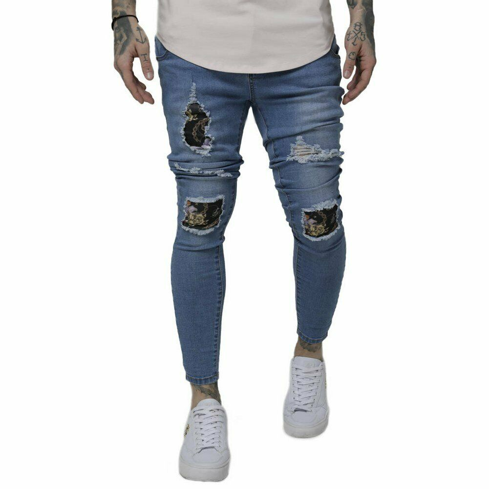 SikSilk Low Rise Distressed Burst Knee Denim   Pantalones Azul Hombre  grandes ahorros