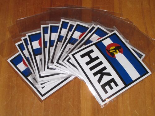 """12 Hike Colorado State Flag 4/"""" x 4/"""" Sticker Decal Hiking Mountain Climbing NEW"""