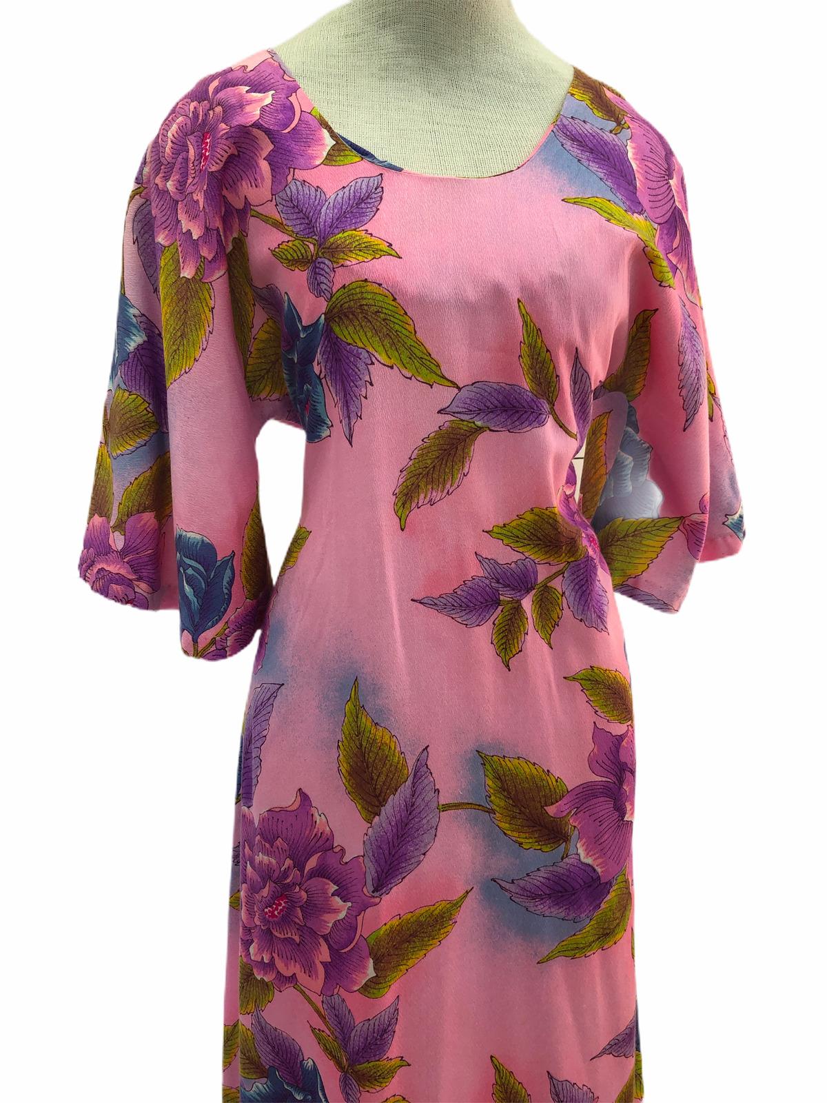 Vintage VTG 1970s 70s Pake Muu Pink Floral Patter… - image 5