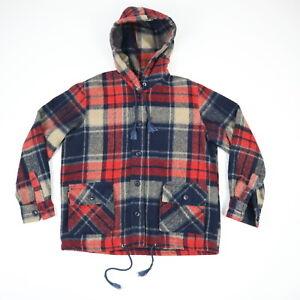 Vtg-70s-Hooded-Wool-Shirt-Jacket-w-Flap-Pockets-Grunge-Surf-Hippie-Fade-Plaid-M