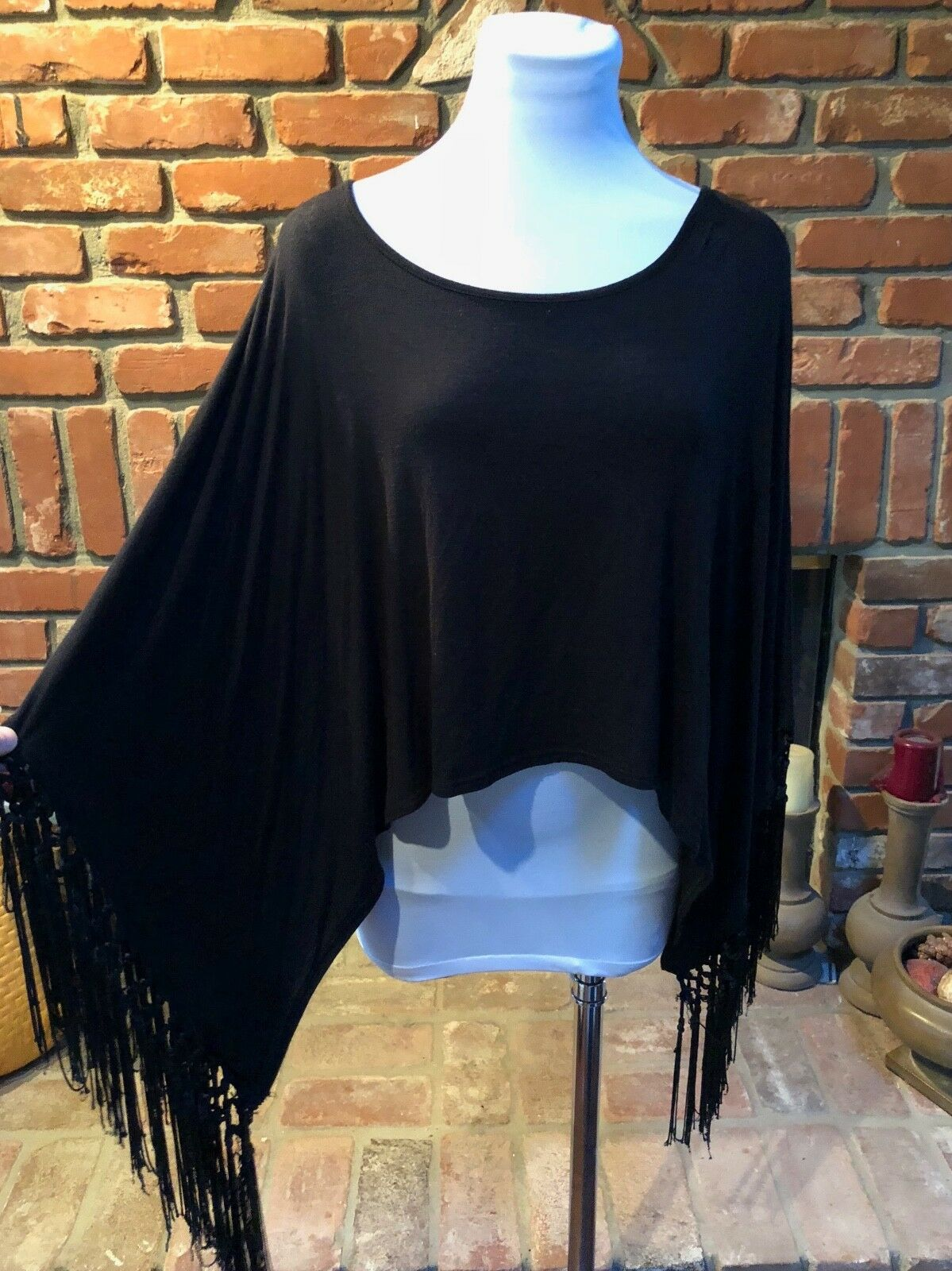 Vintage Bohemian schwarz Fringe Steampunk Rocker Gypsy Cropped Shirt Top sz M