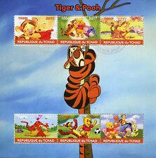 Chad 2017 CTO Tigger & Winnie the Pooh 6v M/S Eeyore Disney Cartoons Stamps