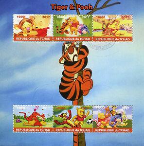 Chad-2017-CTO-Tigro-amp-Winnie-The-Pooh-6v-M-S-Eeyore-Disney-Cartoni-Animati-FRANCOBOLLI