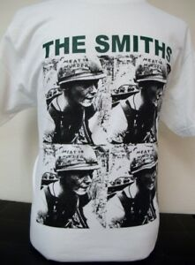 Men's White Screened The Smiths Meat is Murder T-Shirt Morrissey Cure New Order
