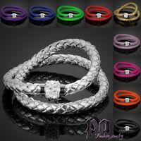 Shamballa Damen Leder Armband Armkette Magnetverschluss