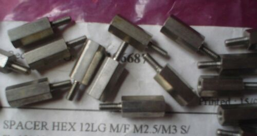 MASCHIO a 12 mm Lunga M2.5//M3 Donna STANDOFF DISTANZIATORI ESAGONALI