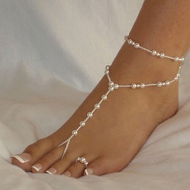 Pearl Anklet & Pearl Toe Ring Barefoot Wedding Bridal Beach Foot Jewellery