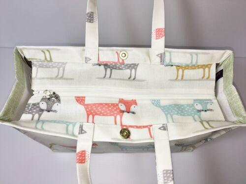Handmade Oilcloth 100/% Cotton Bags Foxy Fox Sage by Nikki/'s Original Totes