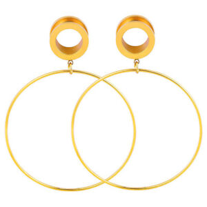 Pair-of-Dangle-Hoop-Stainless-Steel-Ear-Tunnels-Screw-Fit-Plugs-Gauges-Earrings