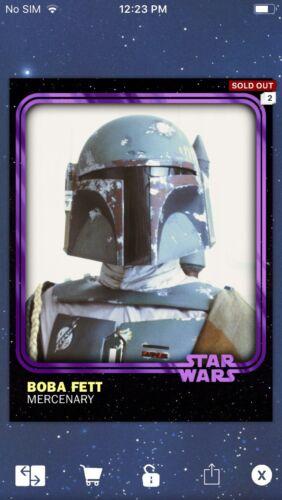 Topps Star Wars Digital Card Trader Purple Boba Fett 2018 Anniversary Insert
