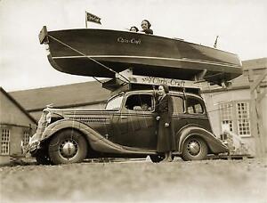 CHRIS-CRAFT-Boat-on-Top-of-ANTIQUE-CAR-RARE-Vintage-PHOTO-CANVAS-Art-PRINT